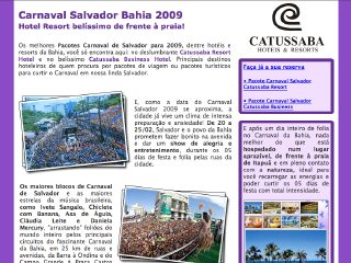 Thumbnail do site Carnaval Salvador 2009|Pacote Carnaval - Catussaba