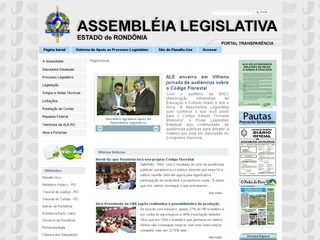 Thumbnail do site Assembléia Legislativa do Estado de Rondônia