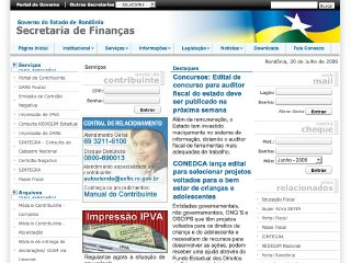 Thumbnail do site Secretaria de Estado de Finanças de Rondônia