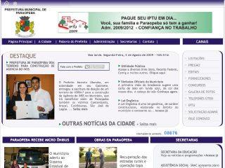 Thumbnail do site Prefeitura Municipal de Paraopeba
