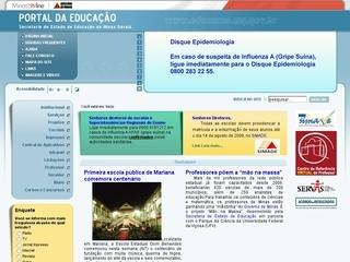 Thumbnail do site Secretaria de Estado de Educação - MG