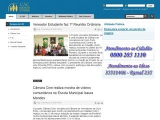 Thumbnail do site Centro de Atendimento ao Cidadão da Cãmara Municipal de Ouro Preto