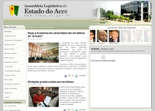 Thumbnail do site Assembléia Legislativa do Estado do Acre